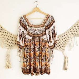 Free People Paisley Peasant Top